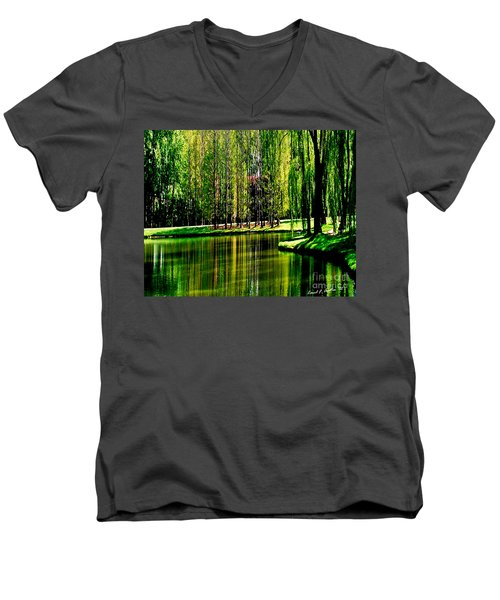 Weeping Willow Tree Reflective Moments Men's V-Neck T-Shirt