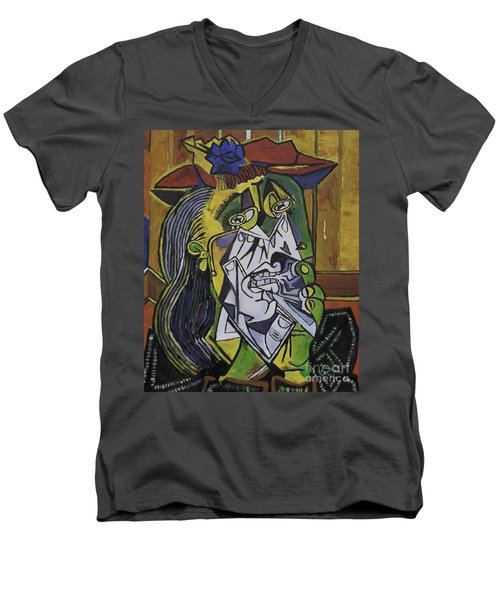Picasso's Weeping Woman Men's V-Neck T-Shirt