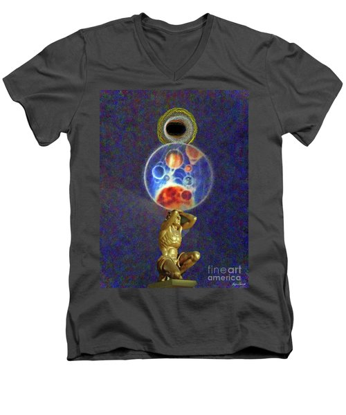 Weight Of The World Men's V-Neck T-Shirt by Lyric Lucas