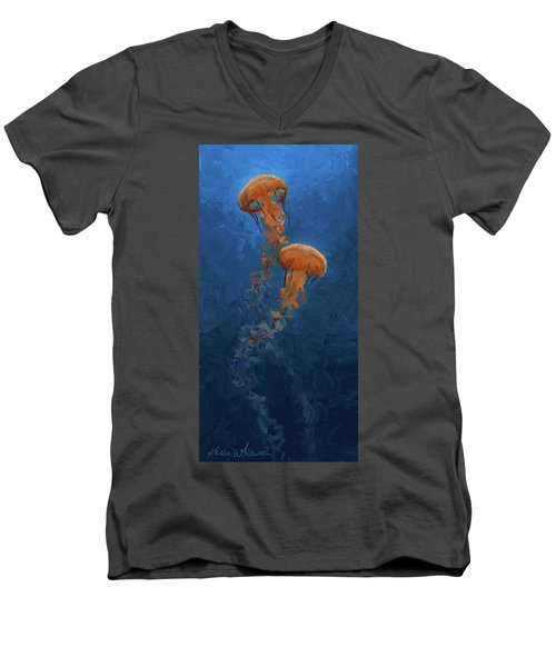 Men's V-Neck T-Shirt featuring the painting Weightless - Pacific Nettle Jellyfish Study  by Karen Whitworth