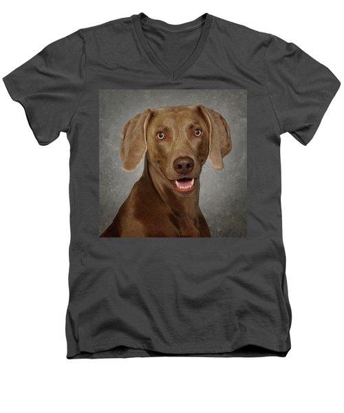 Weimaraner Men's V-Neck T-Shirt by Greg Mimbs