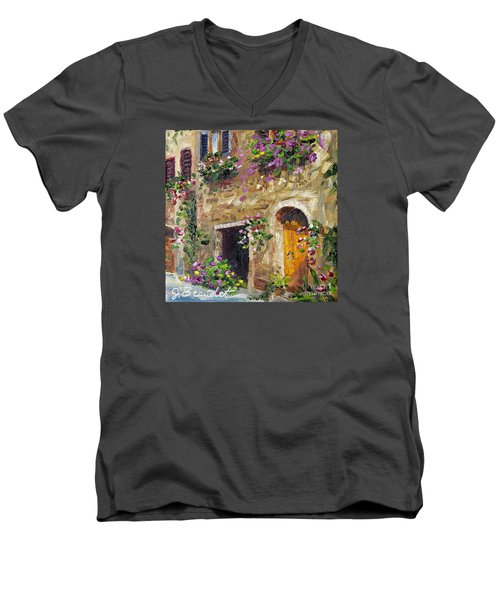 Men's V-Neck T-Shirt featuring the painting Welcome Home by Jennifer Beaudet