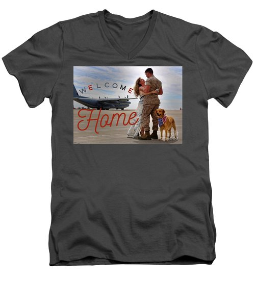 Men's V-Neck T-Shirt featuring the digital art Welcome Home by Kathy Tarochione