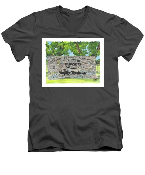 Welcome Sign Fort Sill Men's V-Neck T-Shirt