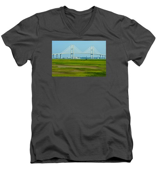 Men's V-Neck T-Shirt featuring the photograph Welcome To Brunswick by Laura Ragland