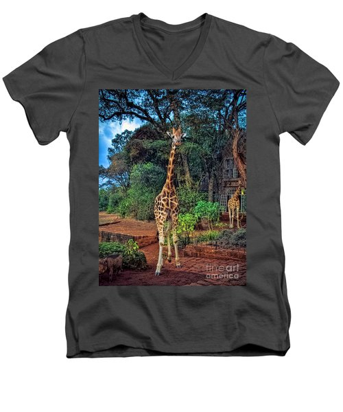 Welcome To Giraffe Manor Men's V-Neck T-Shirt by Karen Lewis
