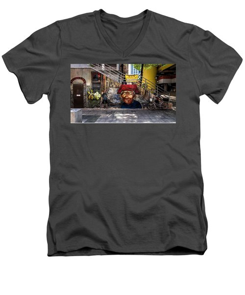 Men's V-Neck T-Shirt featuring the painting Welcome To Our World  by Belinda Low