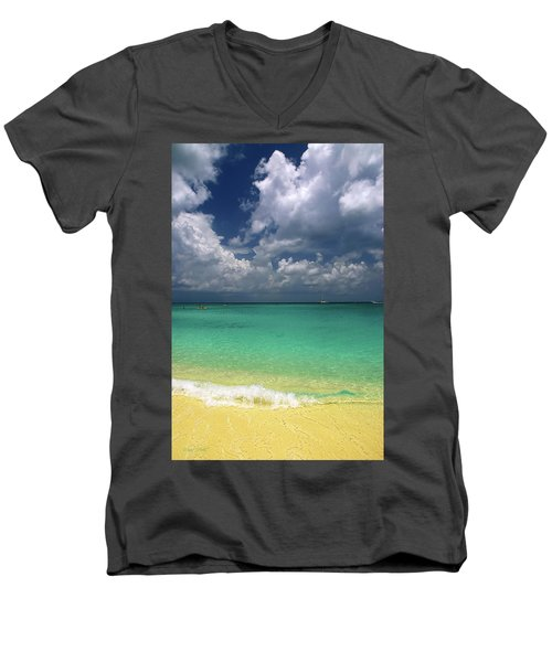 Welcome To Paradise Men's V-Neck T-Shirt by Marie Hicks