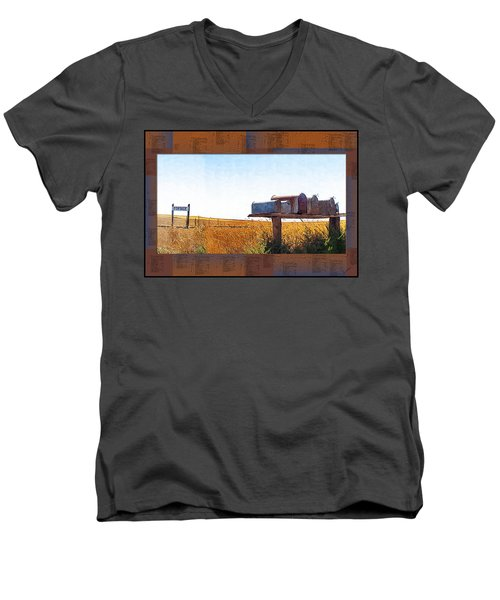 Men's V-Neck T-Shirt featuring the photograph Welcome To Portage Population-6 by Susan Kinney
