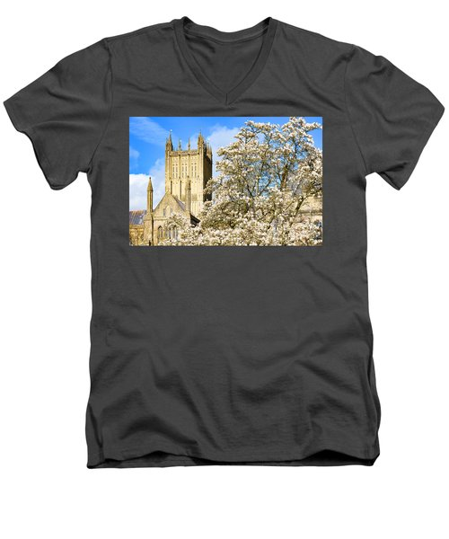 Men's V-Neck T-Shirt featuring the photograph Wells Cathedral And Spring Blossom by Colin Rayner