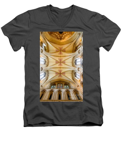 Men's V-Neck T-Shirt featuring the photograph Wells Cathedral Ceiling by Colin Rayner