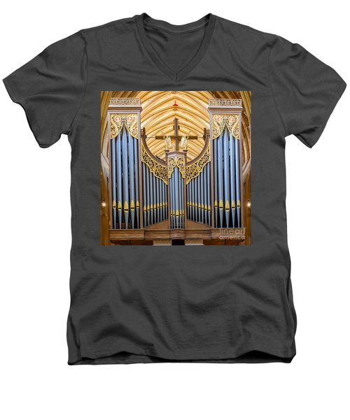 Men's V-Neck T-Shirt featuring the photograph Wells Cathedral Organ by Colin Rayner