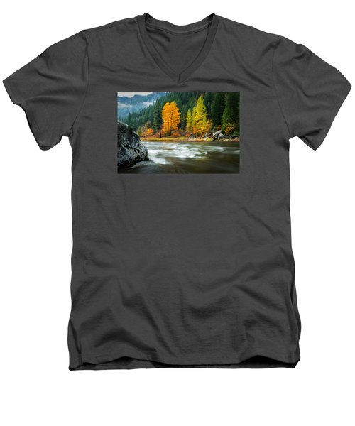 Men's V-Neck T-Shirt featuring the photograph Wenatchee Riverside by Dan Mihai