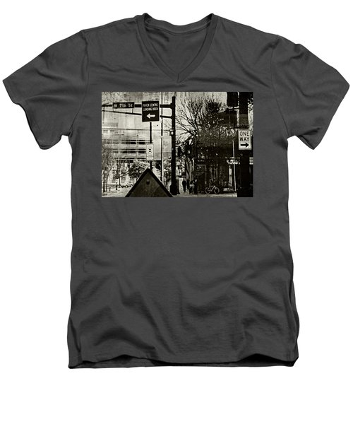 Men's V-Neck T-Shirt featuring the photograph West 7th Street by Susan Stone