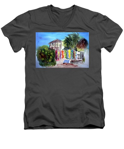 Men's V-Neck T-Shirt featuring the painting West End Market by Donna Walsh