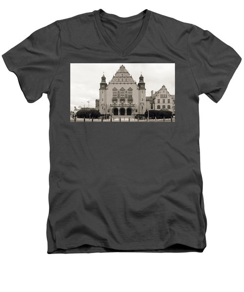 West Facade Of Adam Mickiewicz University Poznan Poland Men's V-Neck T-Shirt