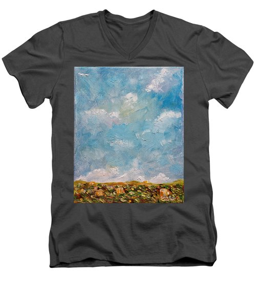 Men's V-Neck T-Shirt featuring the painting West Field Seedlings by Judith Rhue