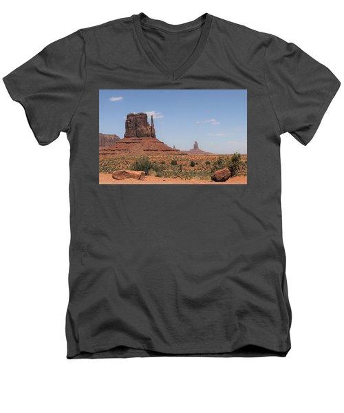 West Mitten Butte Monument Valley Men's V-Neck T-Shirt
