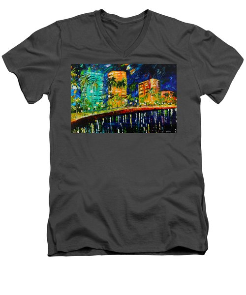 West Palm At Night Men's V-Neck T-Shirt