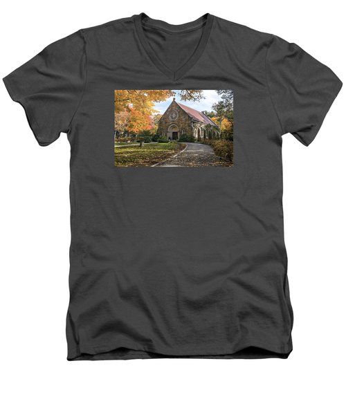 Men's V-Neck T-Shirt featuring the photograph West Parish Chapel In Fall, Andover, Ma by Betty Denise