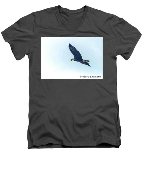 Men's V-Neck T-Shirt featuring the photograph West Point American Eagle. by Terry Cosgrave