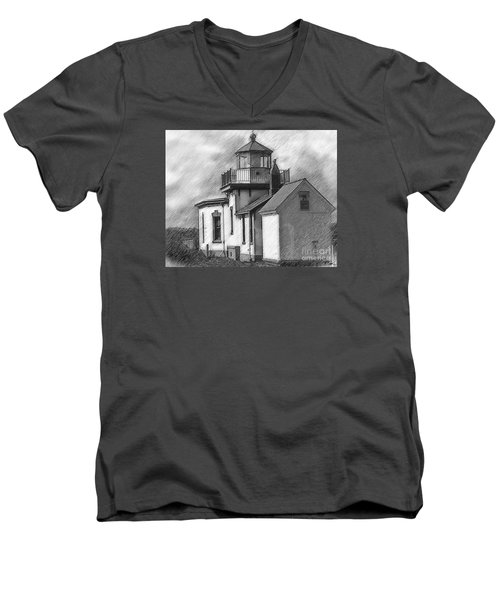 West Point Lighthouse Sketched Men's V-Neck T-Shirt