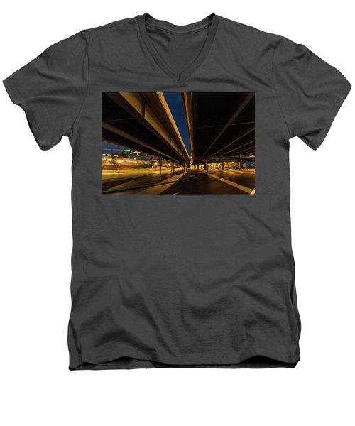 Men's V-Neck T-Shirt featuring the photograph West River Road by Randy Scherkenbach