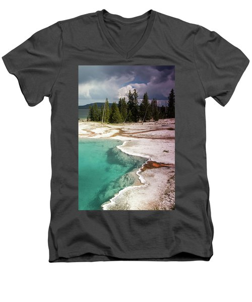 Men's V-Neck T-Shirt featuring the photograph West Thumb Geyser Pool by Dawn Romine