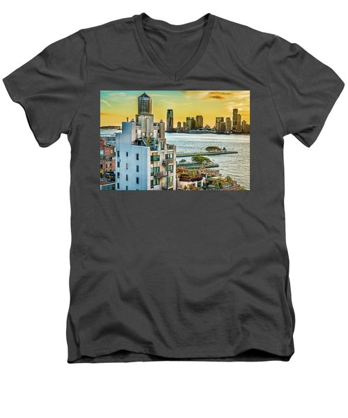 Men's V-Neck T-Shirt featuring the photograph West Village To Jersey City Sunset by Chris Lord