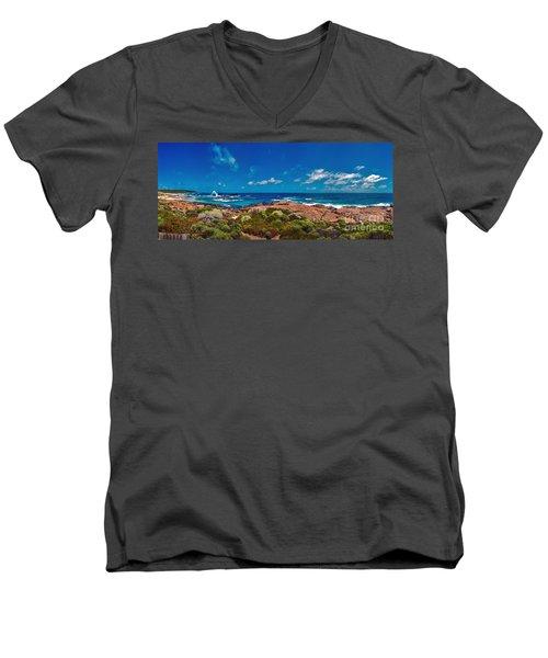 Men's V-Neck T-Shirt featuring the photograph Western Australia Beach Panorama by David Zanzinger