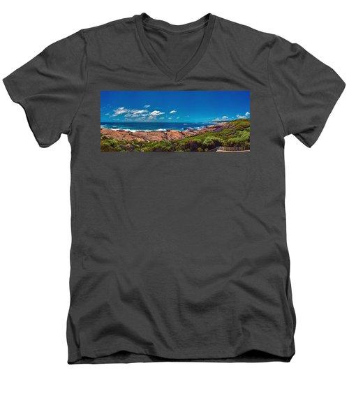 Men's V-Neck T-Shirt featuring the photograph Western Australia Beach Panorama Margaret River by David Zanzinger