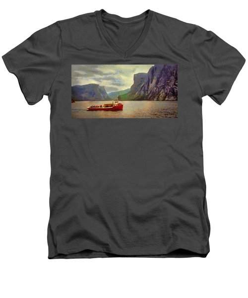 Men's V-Neck T-Shirt featuring the painting Western Brook Pond by Jeff Kolker