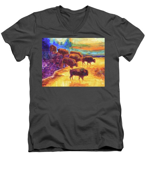 Men's V-Neck T-Shirt featuring the painting Western Buffalo Art Bison Creek Sunset Reflections Painting T Bertram Poole by Thomas Bertram POOLE