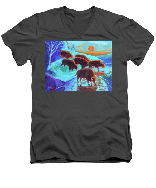 Men's V-Neck T-Shirt featuring the painting Western Buffalo Art Six Bison At Sunset Turquoise Painting Bertram Poole by Thomas Bertram POOLE
