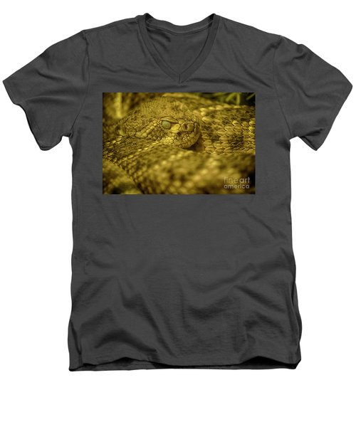 Men's V-Neck T-Shirt featuring the photograph Western Diamondback Rattlesnake by Anne Rodkin