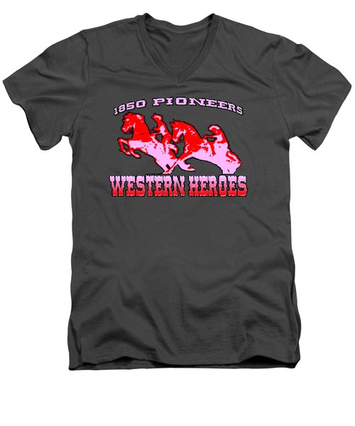Western Heroes 1850 Pioneers - Tshirt Design Men's V-Neck T-Shirt