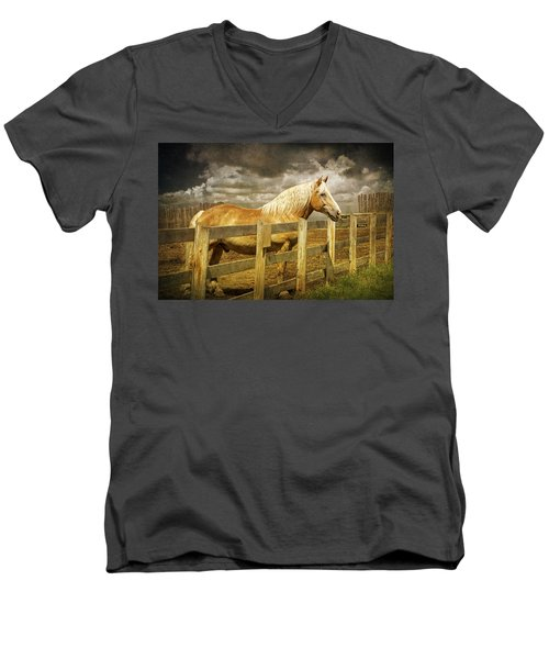 Western Horse In Alberta Canada Men's V-Neck T-Shirt