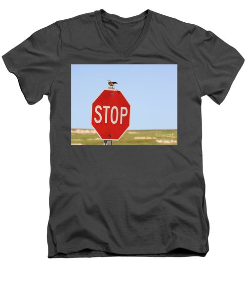 Western Meadowlark Singing On Top Of A Stop Sign Men's V-Neck T-Shirt by Louise Heusinkveld