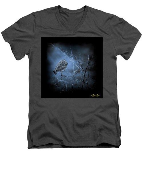 Men's V-Neck T-Shirt featuring the photograph Western Owl Gloom by Rikk Flohr