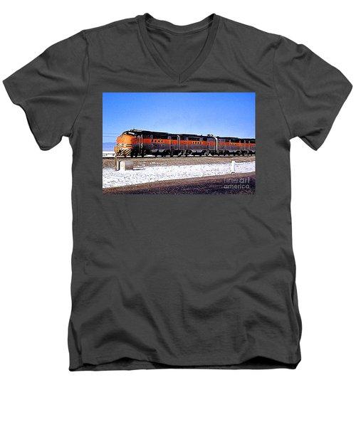 Western Pacific Diesel Locomotive Trainset Men's V-Neck T-Shirt by Wernher Krutein