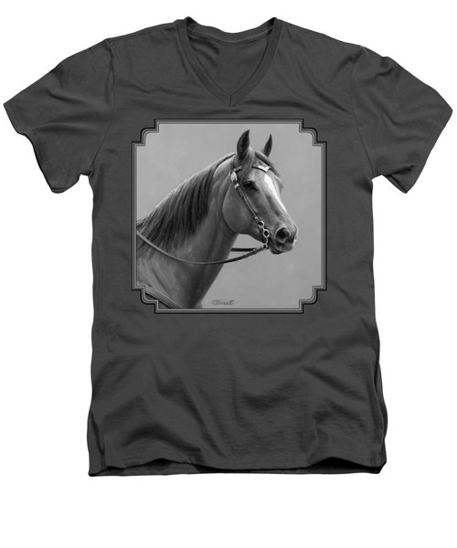 Western Quarter Horse Black And White Men's V-Neck T-Shirt by Crista Forest
