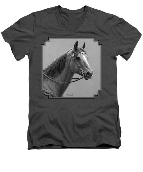 Western Quarter Horse Black And White Men's V-Neck T-Shirt