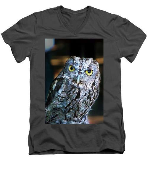Men's V-Neck T-Shirt featuring the photograph Western Screech Owl by Anthony Jones