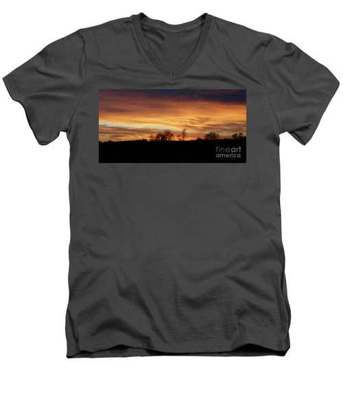 Men's V-Neck T-Shirt featuring the photograph Western Sky December 2015 by J L Zarek