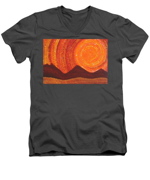 Western Sky Wave Original Painting Men's V-Neck T-Shirt