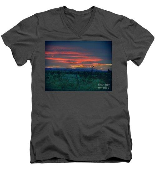Western Texas Sunset Men's V-Neck T-Shirt