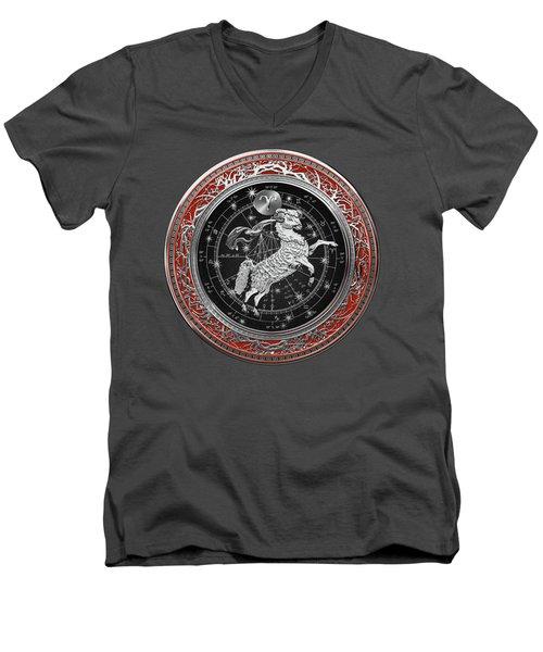 Western Zodiac - Silver Aries -the Ram On Red Velvet Men's V-Neck T-Shirt