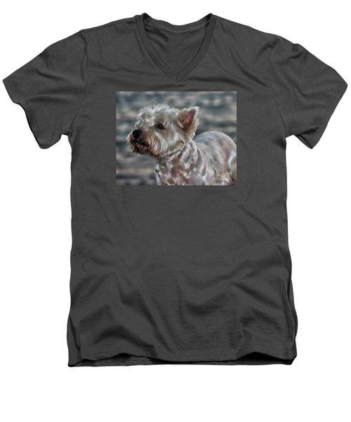 Westie Love Men's V-Neck T-Shirt by Clare Bevan