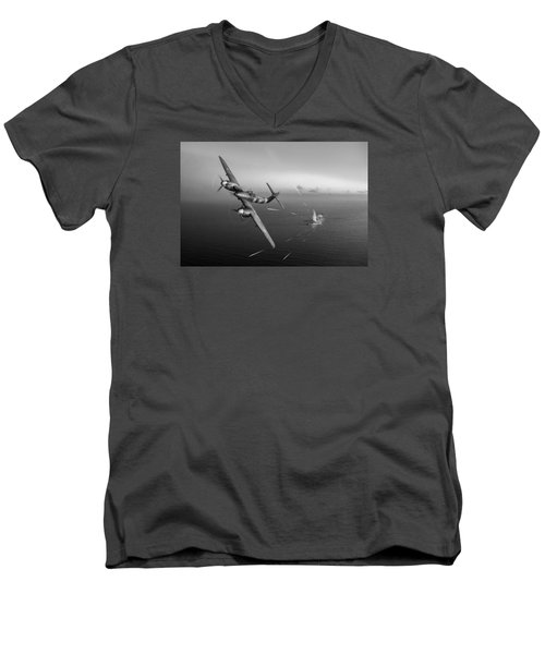Westland Whirlwind Attacking E-boats Black And White Version Men's V-Neck T-Shirt by Gary Eason
