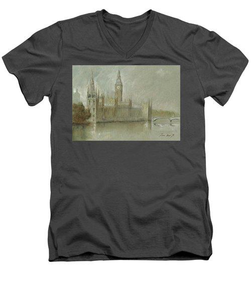 Westminster Palace And Big Ben London Men's V-Neck T-Shirt